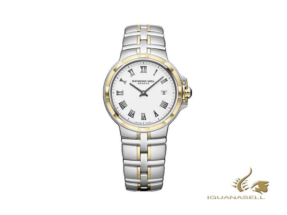Raymond Weil Parsifal Ladies Quartz Watch, PVD Gold, Silver, Day,5180-STP-00300