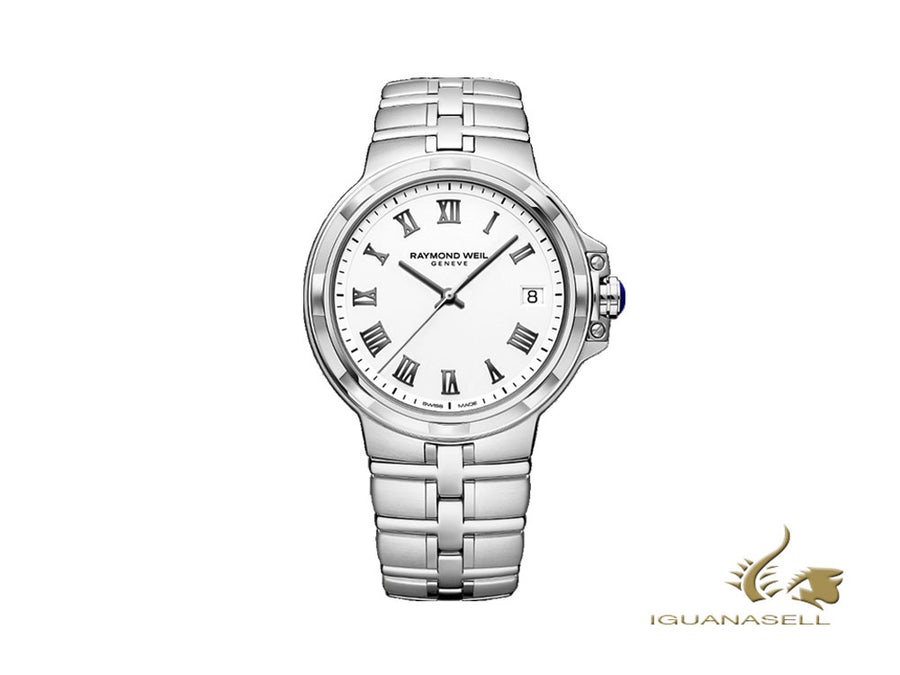 Raymond Weil Parsifal Quartz Watch, White, 41 mm, 5580-ST-00300