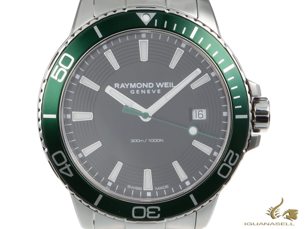 Raymond Weil Tango 300 Quartz Watch, Black/Green, 42mm, Day, 8260-ST7-20001