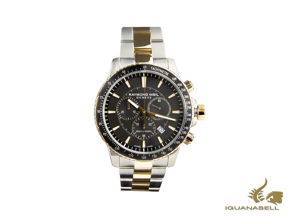 Raymond Weil Tango Quartz Watch, PVD Gold, Black, 43 mm, Chronograph