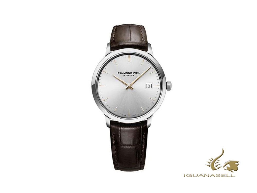 Raymond Weil Toccata Quartz Watch, Silver, 39 mm, Day, Leather, 5485-SL5-65001