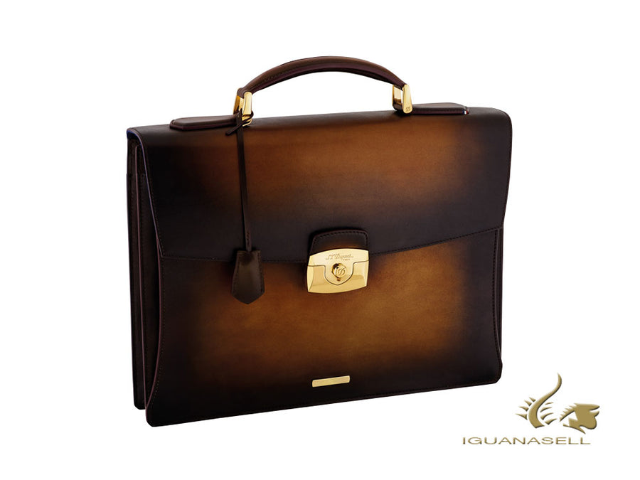 S.T. Dupont Atelier Tabac Briefcase, Leather, Gold plated, Flap-over, 191200