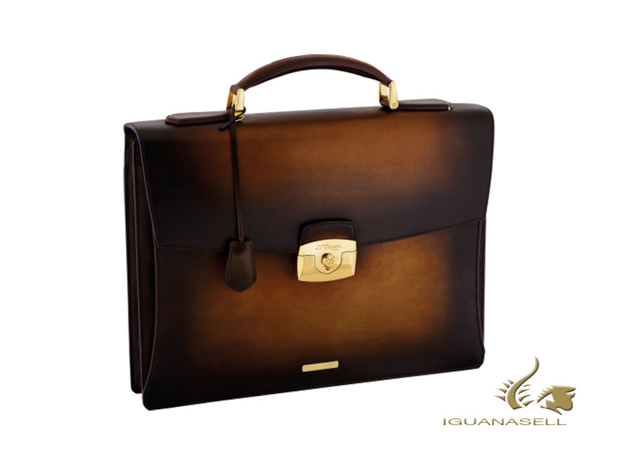 S.T. Dupont Atelier Briefcase, Leather, Gold plated, Tobacco Brown, 191400