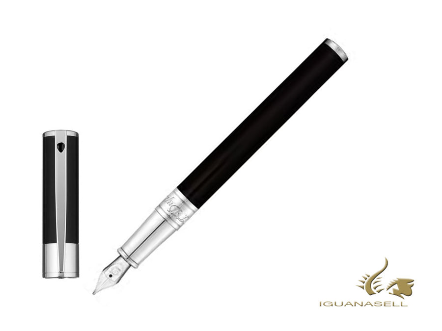 S.T. Dupont D-Initial Fountain Pen, Lacquer, Black, Chrome Trim, 260203