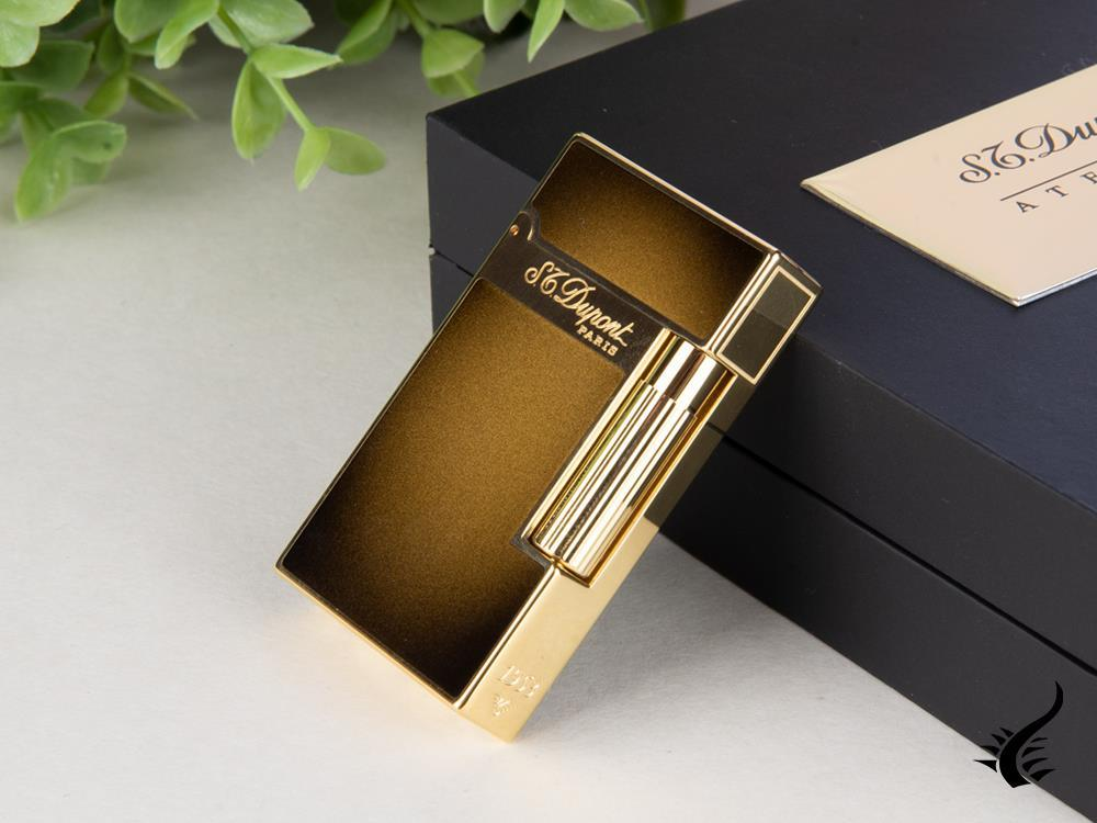 S.T. Dupont Ligne 2 Atelier Sunburst Bronze Lighter, Lacquer, Gold, 016304