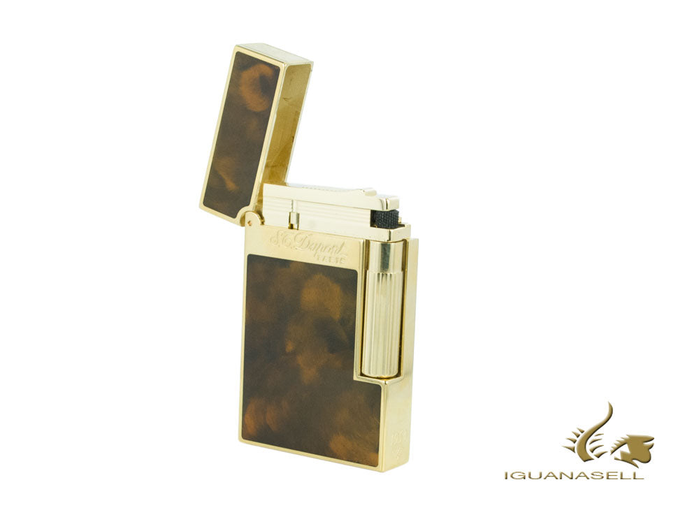 S.T. Dupont Ligne 2 Lighter, Chinese lacquer, Gold trim, Brown, 16126