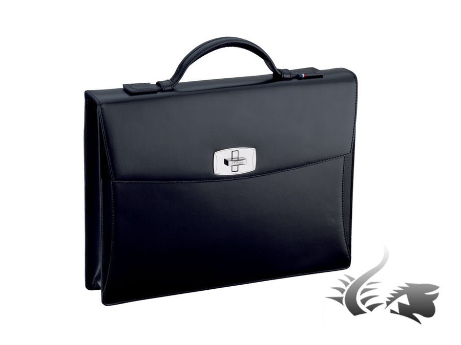 S.T. Dupont Line D Briefcase, Leather, 1 divider, Black, Flap-over, 181000