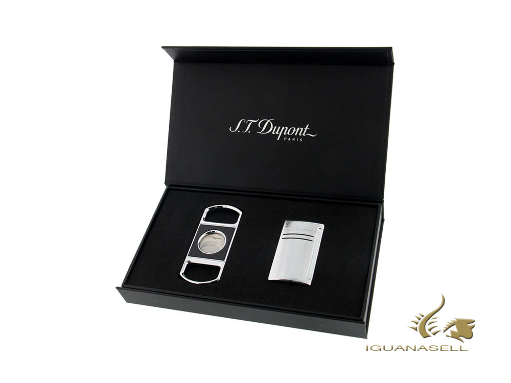 S.T. Dupont Maxijet Lighter Gift Set, Lacquer, Chrome, 020157NQ319