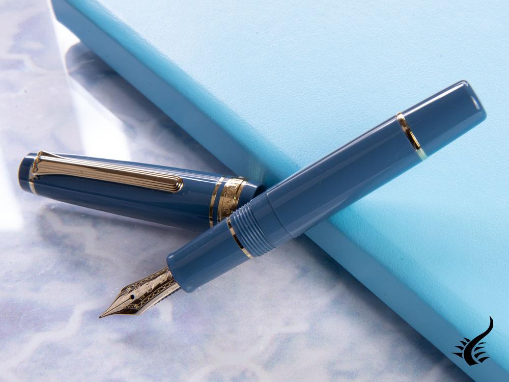 Sailor Pro Gear Slim Mini Ayur Blue Fountain Pen, Gold, 11-1503-340
