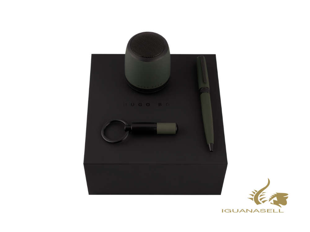 Set Hugo Boss Gear Ballpoint pen, Key ring, Speaker, Brass, Green, HPBEK007T