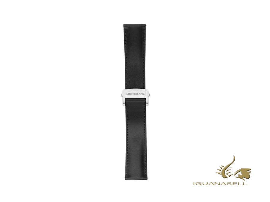 Montblanc Summit 2 Leather strap, Black, 22mm, Foldover clasp, 119435