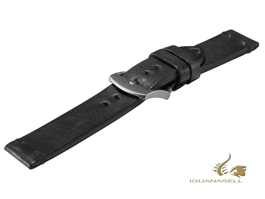 U-Boat Accesorios Strap, Leather, Cotton, Black, 20 mm., Stainless Steel, 4110