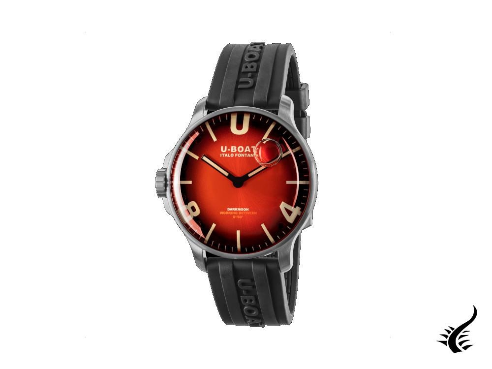 U-Boat Capsoil Darkmoon Soleil Red SS Quartz Watch, Red, 44 mm, 8701