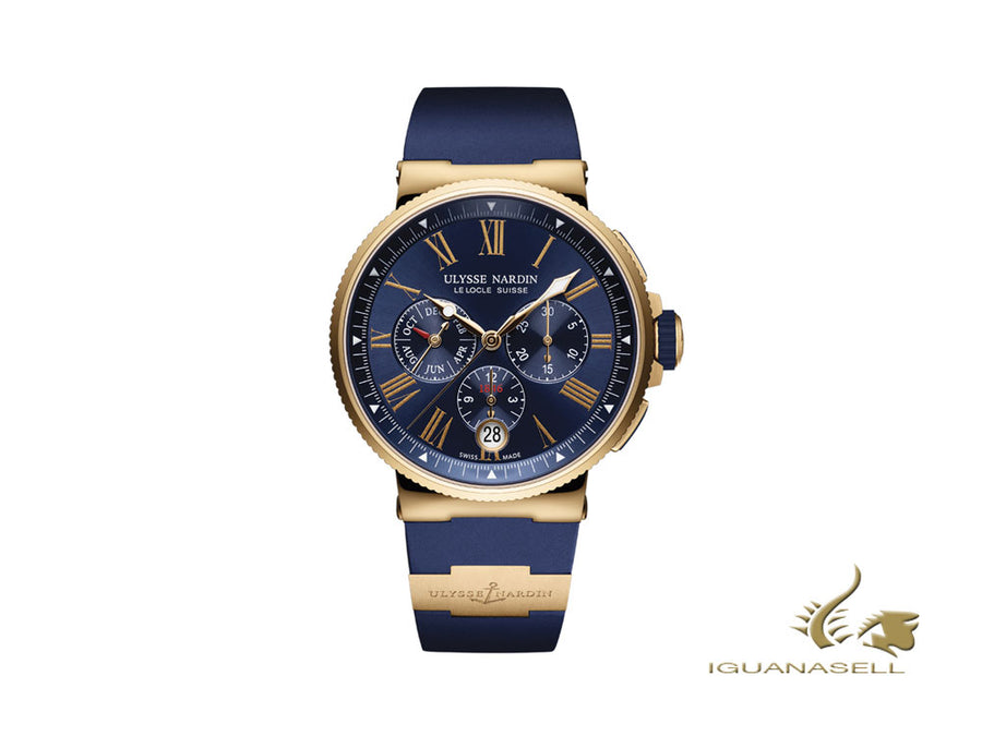 Ulysse Nardin Marine Chronograph Automatic Watch, 18Kt Rose gold, 1532-150-3/43