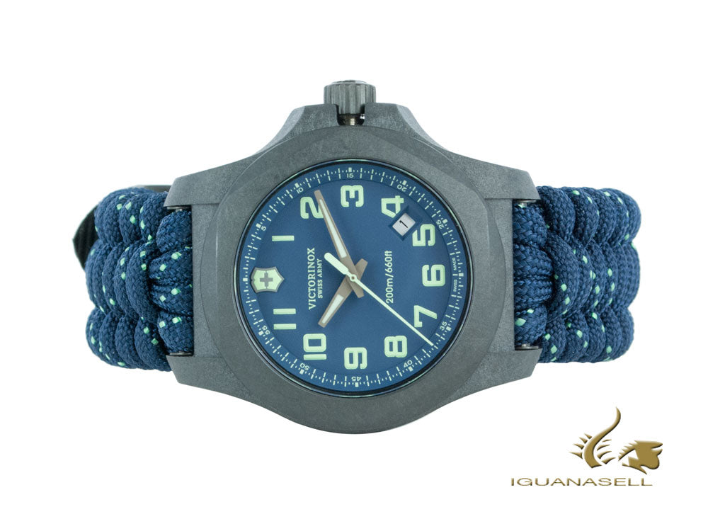 Victorinox I.N.O.X. Carbon Quartz Watch, Blue, 43 mm, Paracord, V241860