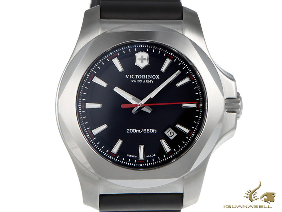 Victorinox I.N.O.X. Quartz Watch, Stainless Steel, Black, 43 mm, Rubber strap