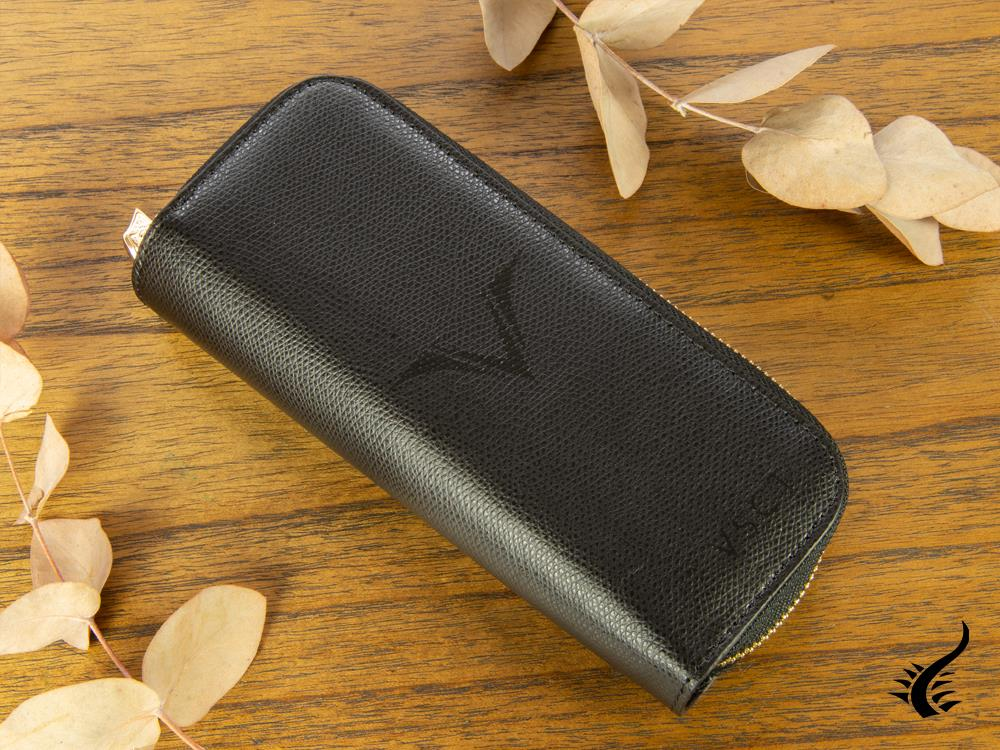 Visconti 4 Pen Case, Leather, Rigid, Zip, Black, KL08-01