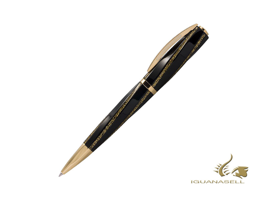 Visconti Divina Fashion Ballpoint pen, Resin, Black, Gold plated, KP18-24-BP
