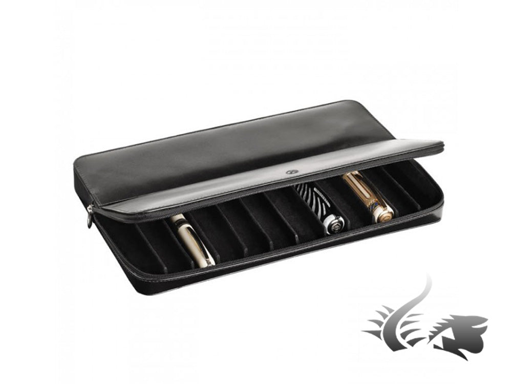 Visconti 12 Pen Case, Leather, Rigid, Zip, Black, 986NN0108