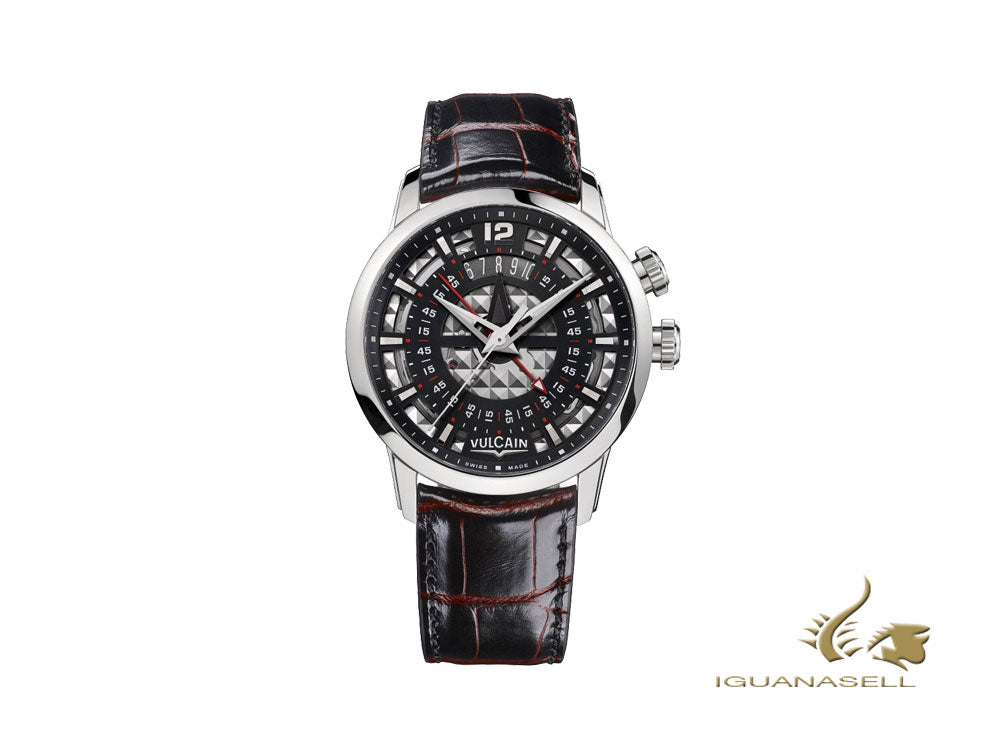 Vulcain Anniversary Heart Manual Watch, V-16, 42 mm, Black, 160128Q35.BAL138