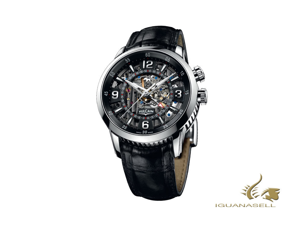 Vulcain Anniversary Heart Manual Watch, V-18, 42 mm, Black, 180128.258LF