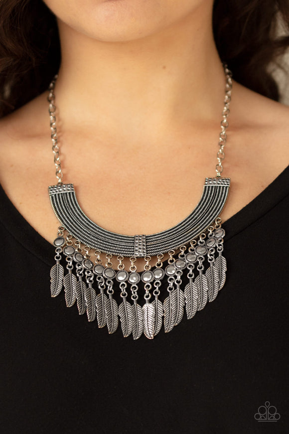 Fierce in Feathers - Silver - Paparazzi Accessories