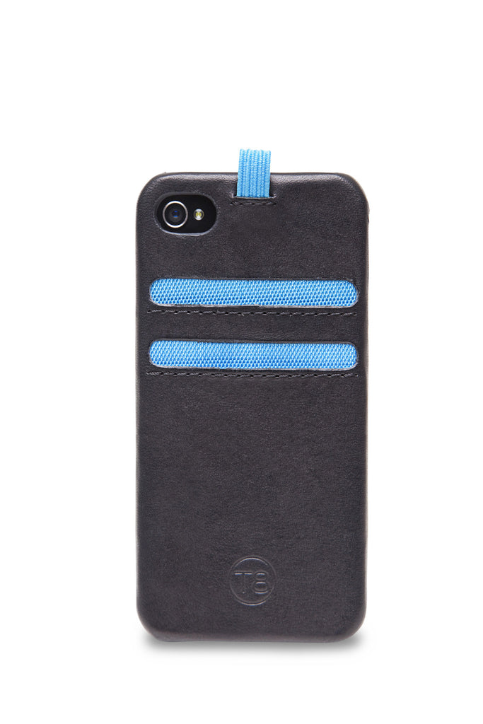 STORM iPhone 5/5S/SE wallet with lanyard – Black leather/Blue trim. SAVE 50%.