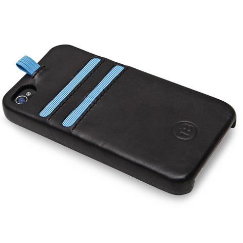 STORM iPhone 4/4S wallet - Black Leather / Blue Trim. SAVE 67%