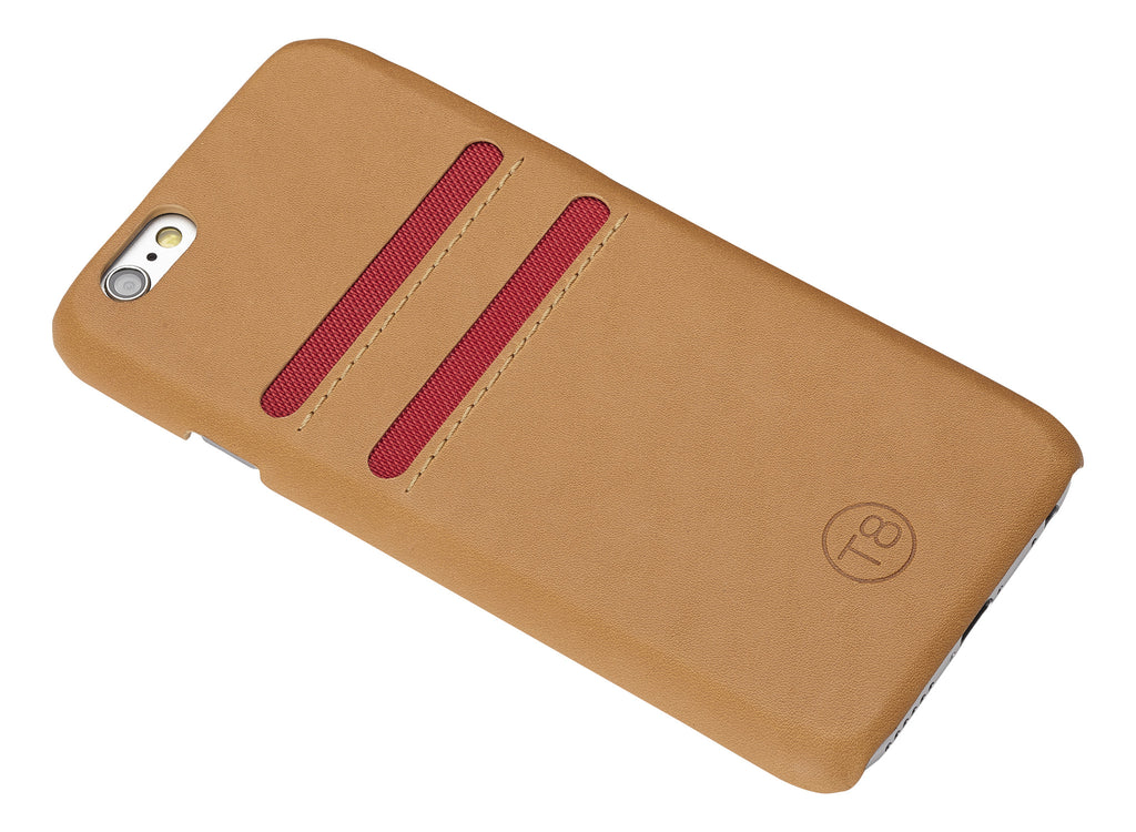 iPhone 7 wallet  – Tan leather/Red trim