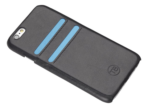 iPhone 7 wallet Case – Black leather/Blue trim