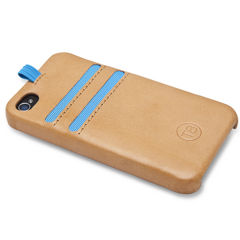 STORM iPhone 4/4S wallet - Tan Leather / Blue Trim. SAVE 67%