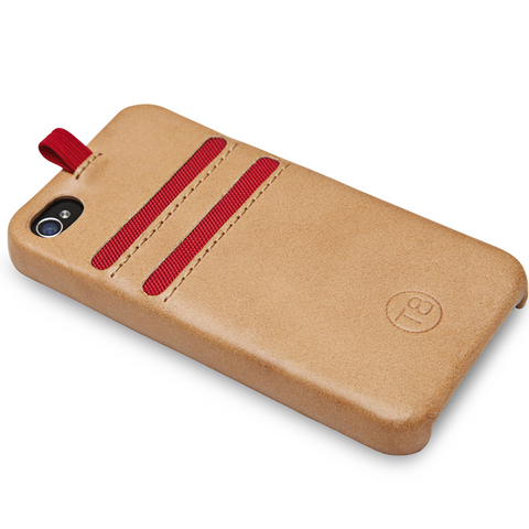 STORM iPhone 4/4S wallet - Tan Leather / Red Trim. SAVE 67%.