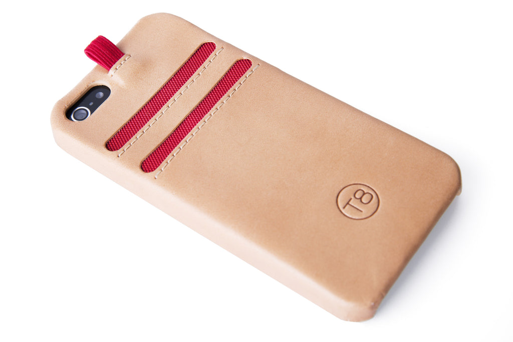 STORM iPhone 5/5S/SE wallet with lanyard – Tan leather/Red trim. SAVE 50%.