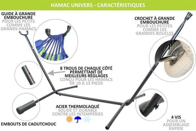 Hamac Univers Ensembles Hamac avec Support Hamac Double Colombien avec support universel