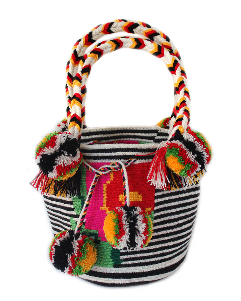 Pompom Bag - Black/White