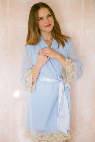 Limited Edition. Pemberley lined chiffon robe with vintage tea-stained lace trim. Small.