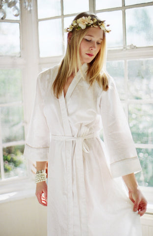 Limited Edition. Alpine snow. Cotton bridal robe. Medium.