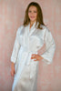 Limited Edition. Clematis. Long satin robe in off-white. Medium.