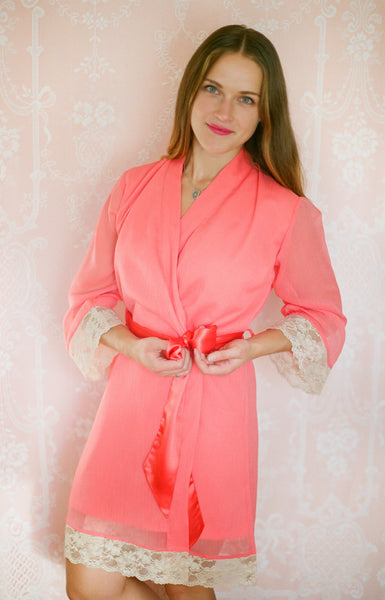 Limited Edition. Nude Coral lined chiffon robe with vintage tea-stained lace trim. Small.
