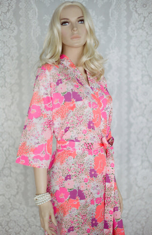 Limited Edition. Peach Delight. Short cotton robe. Small.