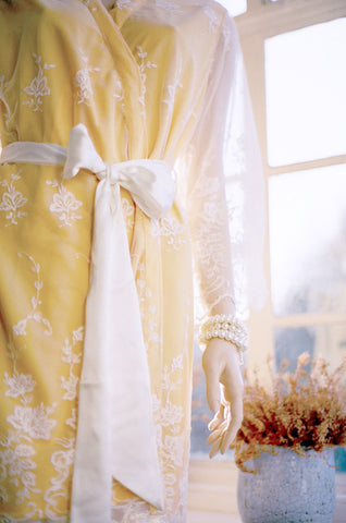 Limited Edition. Buttercup. Lace overlay bridal robe. Medium.