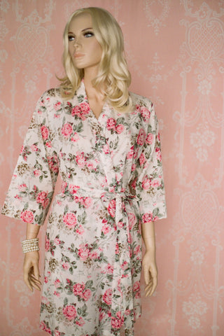 Rosa Romantica. Short cotton robe.