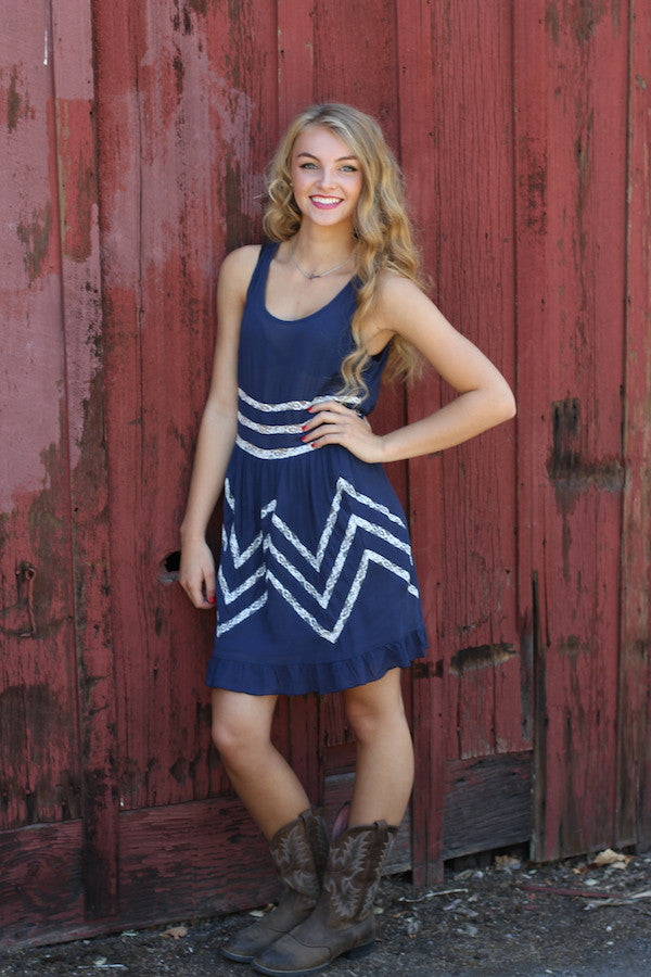 Summer Festival Trapeze Dress with Stripe / Chevron Lace Inserts