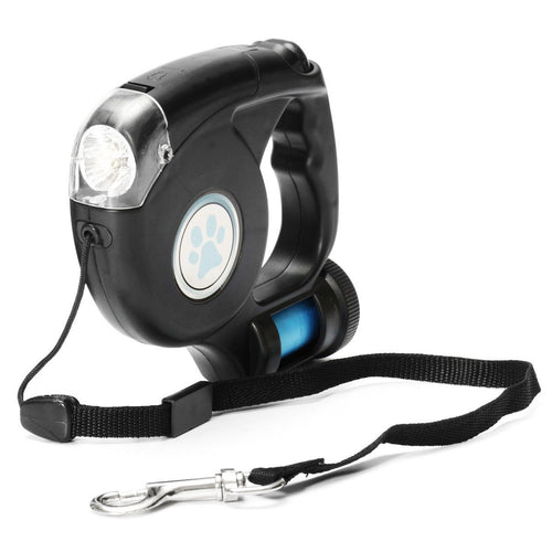 LED Flashlight Retractable Leash w/Garbage Bag