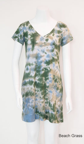 V-Neck Tee Shirt Dress - Beach Grass