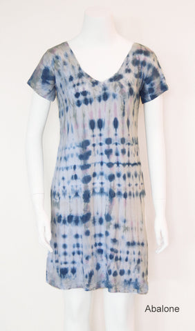 V-Neck Tee Shirt Dress - Abalone