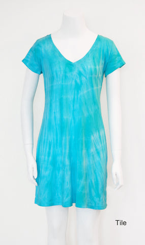 V-Neck Tee Shirt Dress - Tile