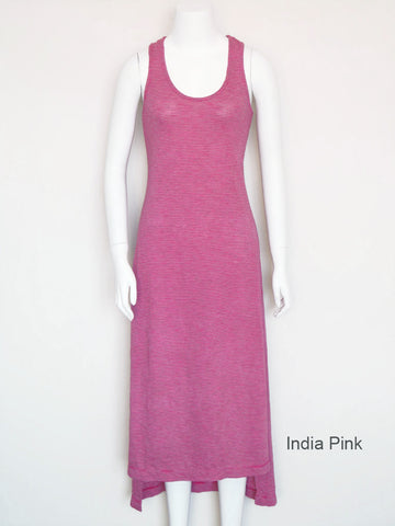 Hi-Lo Striped Tank Dress - India Pink