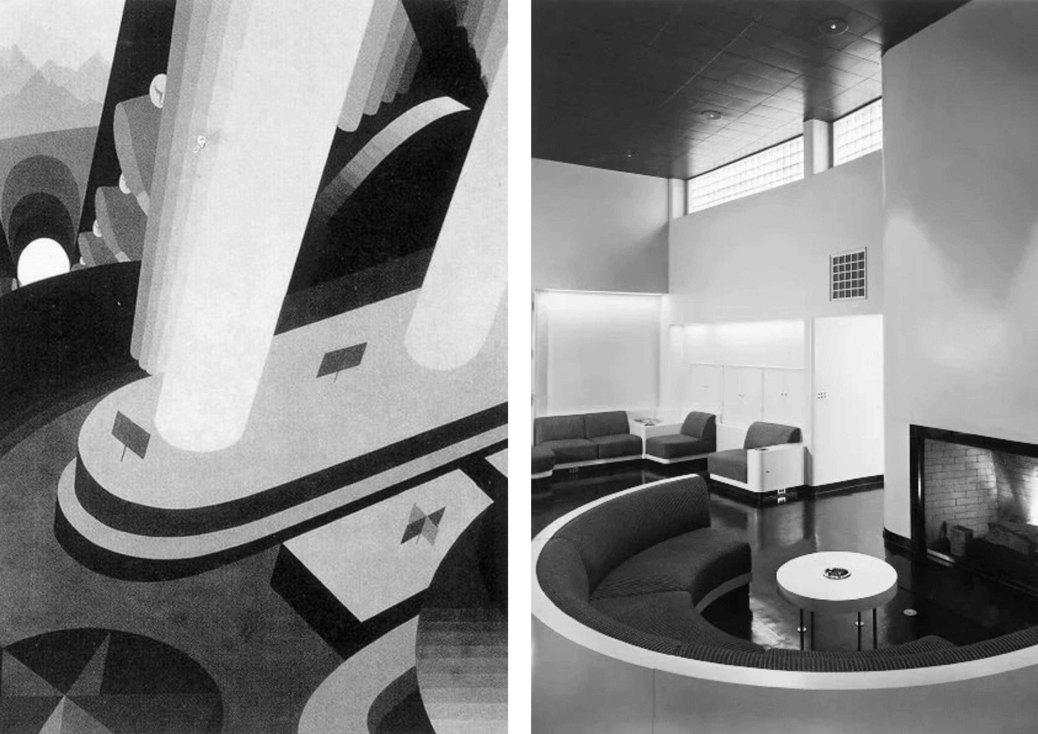 """Left: John Vassos, """"The Department Store"""" 1929. Right: Home designed by George Fred Keck 1936"""