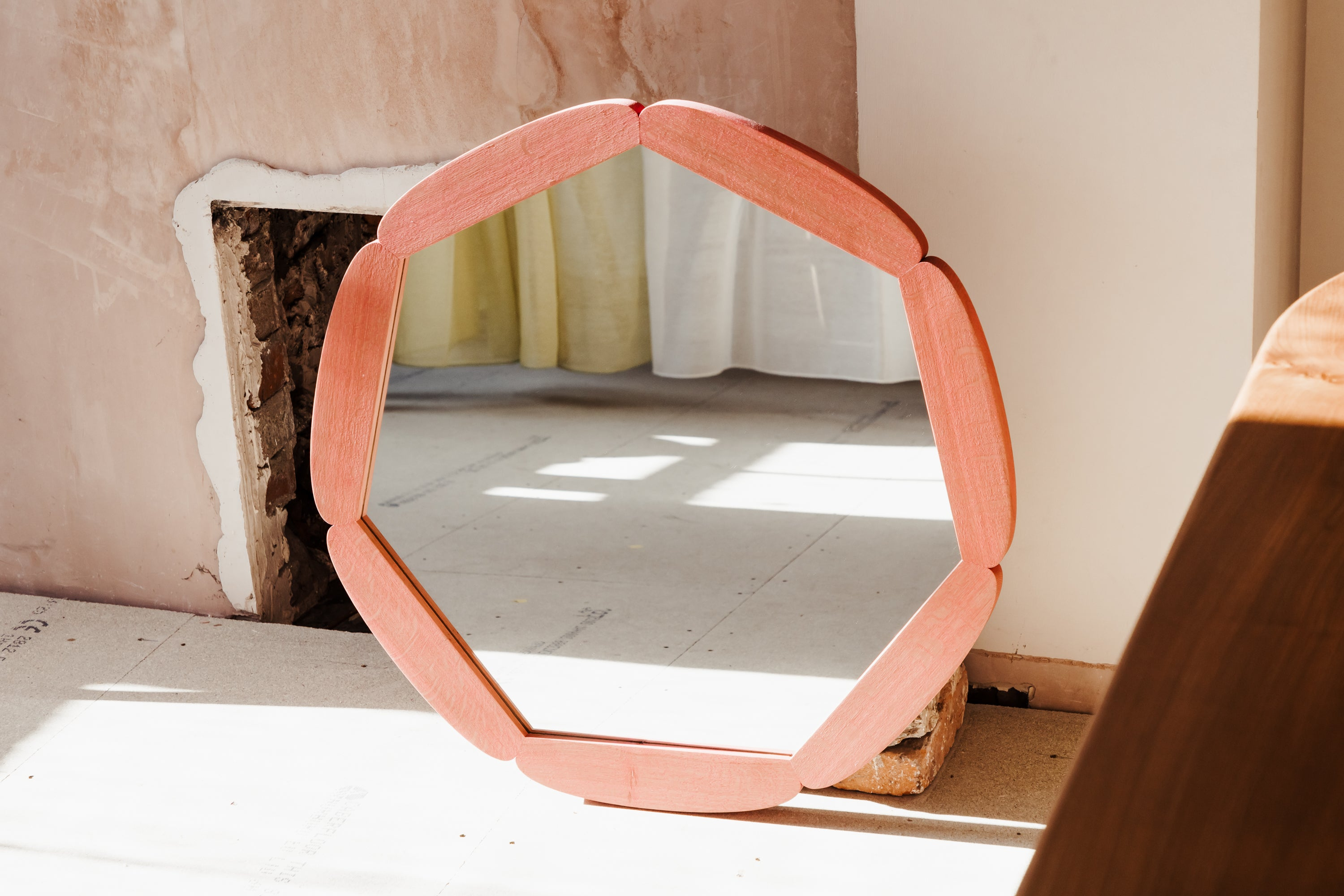 The Floral Polygon Mirror, Antique Pink